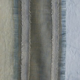 Stitch hand-frayed and –fringed different weight linens to achieve subtle textures and colors in the table runner for designer Jennifer Mobley of Mobley Bloomfield.