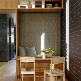 This upholstered, tall bench back encourages lingering at family mealtime in this Noe Valley project for Geremia Design.