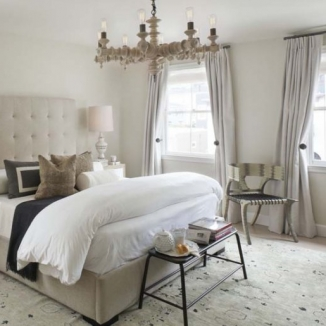 Heavily lined draperies block out city noise in this San Francisco bedroom.