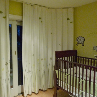 Stitch custom designed and printed this curtain fabric to coordinate with the decor in this Noe Valley, San Francisco nursery.