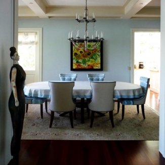 Stitch designed and fabricated a contrast banded heavy linen throw for this unusually large dining table in this charming Tiburon home.