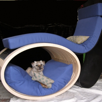 Stitch worked with Levy Architecture on this one-of-a-kind chair/dog bed for Petchitecture, the annual PAWS (Pets Are Wonderful Support) fundraising event.