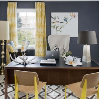 This Christopher Farr fabric is a favorite and is used in this dark grey office by Green Couch.