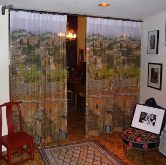 A custom printed curtain by Stitch highlights a client's Italian vacation in a Mission district, San Francisco loft entryway.