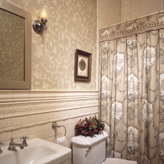 This toile shower curtain is embellished with a special brushed fringe trim at the heading to finish this Victorian San Francisco bathroom.