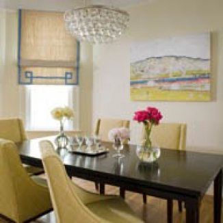 Grosgrain banding and an intricate Greek key design highlight just two of the high quality finishing touches that Stitch incorporated on a linen Roman shade in this charming Noe Valley dining room.